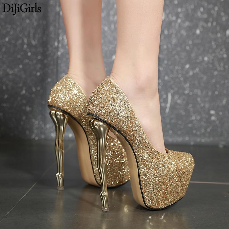 Gold Heels Sexy Strange Heel Silver
