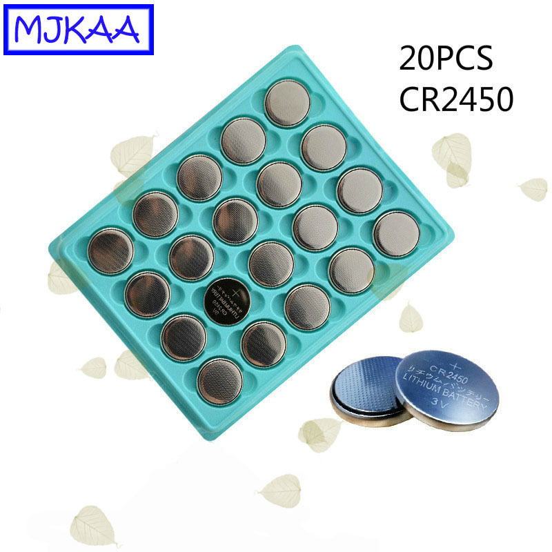 MJKAA 20Pcs CR2450 3V Lithium Button <font><b>Battery</b></font> DL2450 <font><b>CR2450N</b></font> ECR2450 BR2450 CR 2450 Car Remote Control Cell Coin <font><b>Batteries</b></font> image