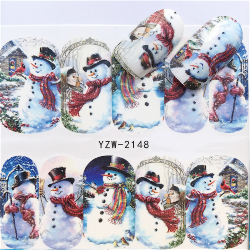 Christmas Water Decals Santa Claus Snowman Full Wraps Design Water Transfer Sliders For Nail Art Decor Tattoos Xmas Gift