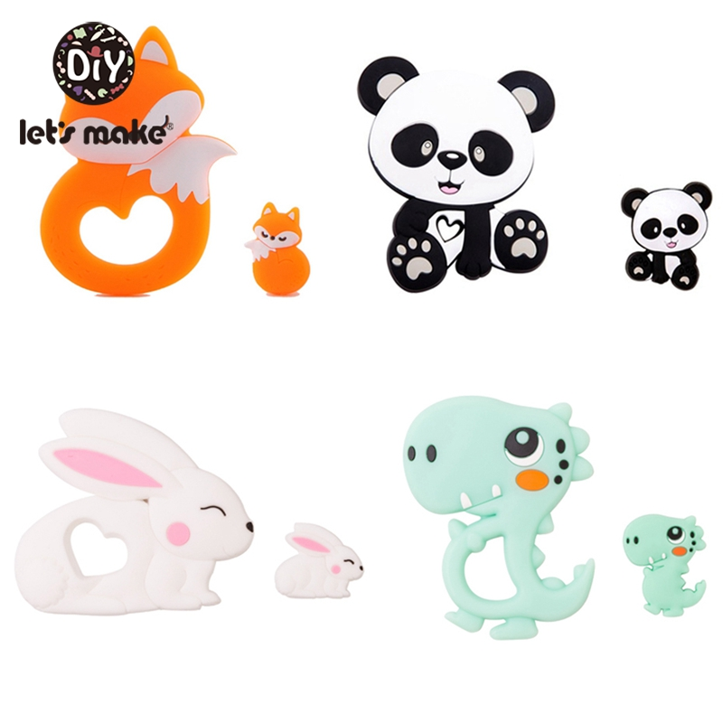 Let'S Make 2Pc/Set Silicone Mini Fox Beads Baby Toys Teethers Rattle Bpa Free Silicone Fox Teether Tiny Rod Baby Teether