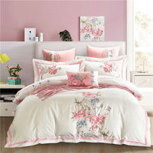 Bed Four-piece Cotton Embroidery Flower Cotton Quilt Cover Bed Queen Bedding Set King Size Bedding Set  Queen Comforter Sets handmade quilts patchwork cotton quilt 3pcs bedding washed cotton quilted bedspreads bed cover queen king size coverlet set