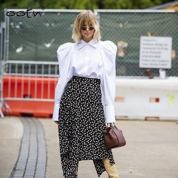 Streetwear Puff Sleeve White Office Women Shirts Blouses Long Sleeve Buttons Casual Blouse Mujer New Turn Down Collar Ruched Top 2