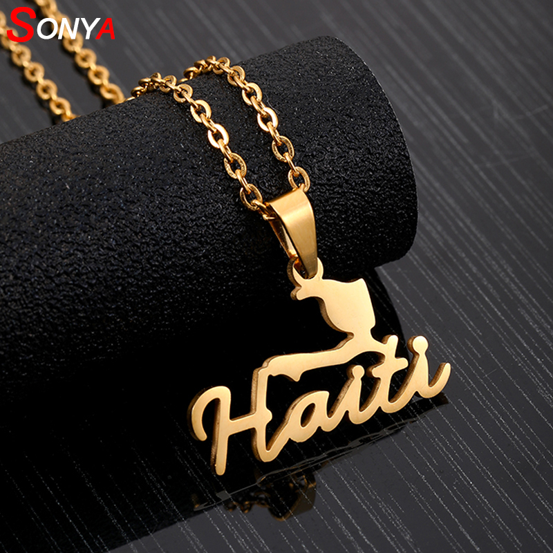 SONYA Stainless Steel HAITI Map Pendant Necklaces for Women Girls Lover's Engagement Jewellery Gold Color HAITI Jewelry Gifts