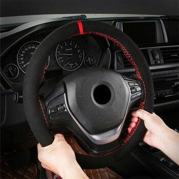 Skóra zamszowa 38cm DIY osłona na kierownicę do samochodu warkocz z igłami nici odporne na zużycie zimowe ciepłe akcesoria do wnętrz samochodowych