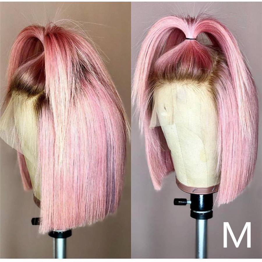 Roselover Short Bob Ombre Colored 13*6 Lace Front Human Hair Wigs Preplucked With Baby Hair Remy Brazilian Human Hair 150% 8-14