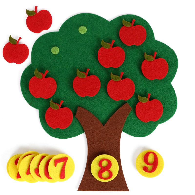 Montessori Math Toy Apple Trees Teach kids development Intelligence Kindergarten Diy Weave Cloth Early Learning Education Toy(China)