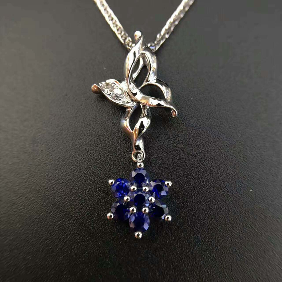 Starfield 18K White Gold 0.02carat Diamond Encrusted Sri Lanka 0.62carat Sapphire Pendant Necklace with Chain for Women
