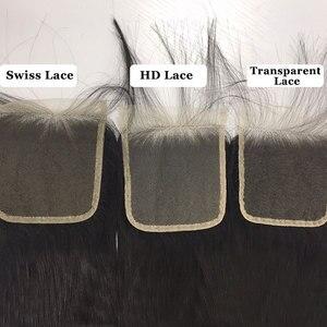 Image 3 - Ali Königin Haar 3/4 stücke Brasilianische Gerade Remy Menschliches Haar Bundles Mit Verschluss 4x4 Transparent Spitze Verschluss Mit bundles