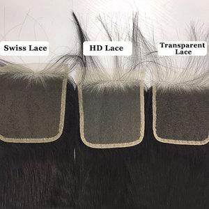 Image 3 - Ali kraliçe saç 3/4 adet brezilyalı düz Remy insan saç demetleri ile kapatma 4x4 şeffaf dantel kapatma demetleri ile