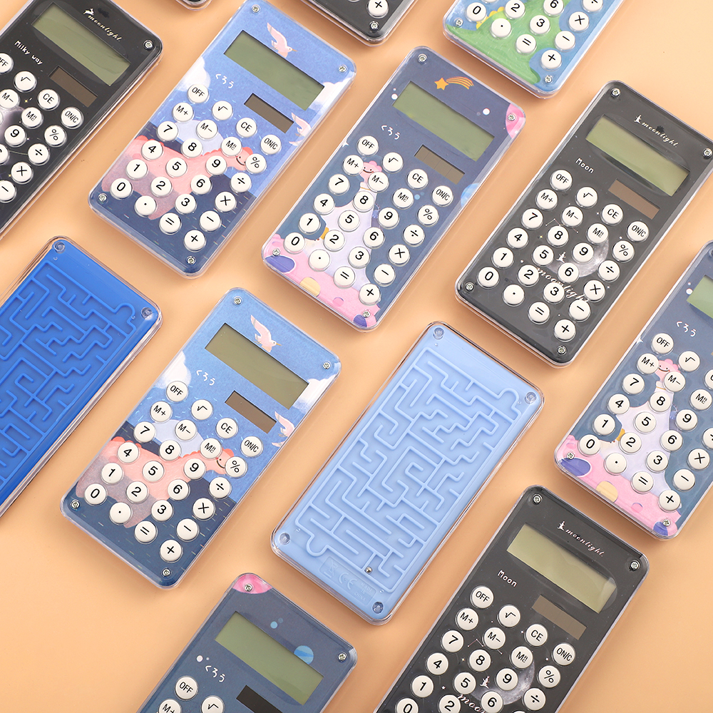 JIANWU 1Pcs Cute Cartoon Multifunction Calculator Solar Student With Maze Game Calculator 8-digit School Supplies