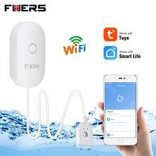 FUERS-Alarma de fugas de agua con WIFI para el hogar, Sensor de fugas de agua con alarma de detección de desbordamiento, aplicación inteligente Tuya