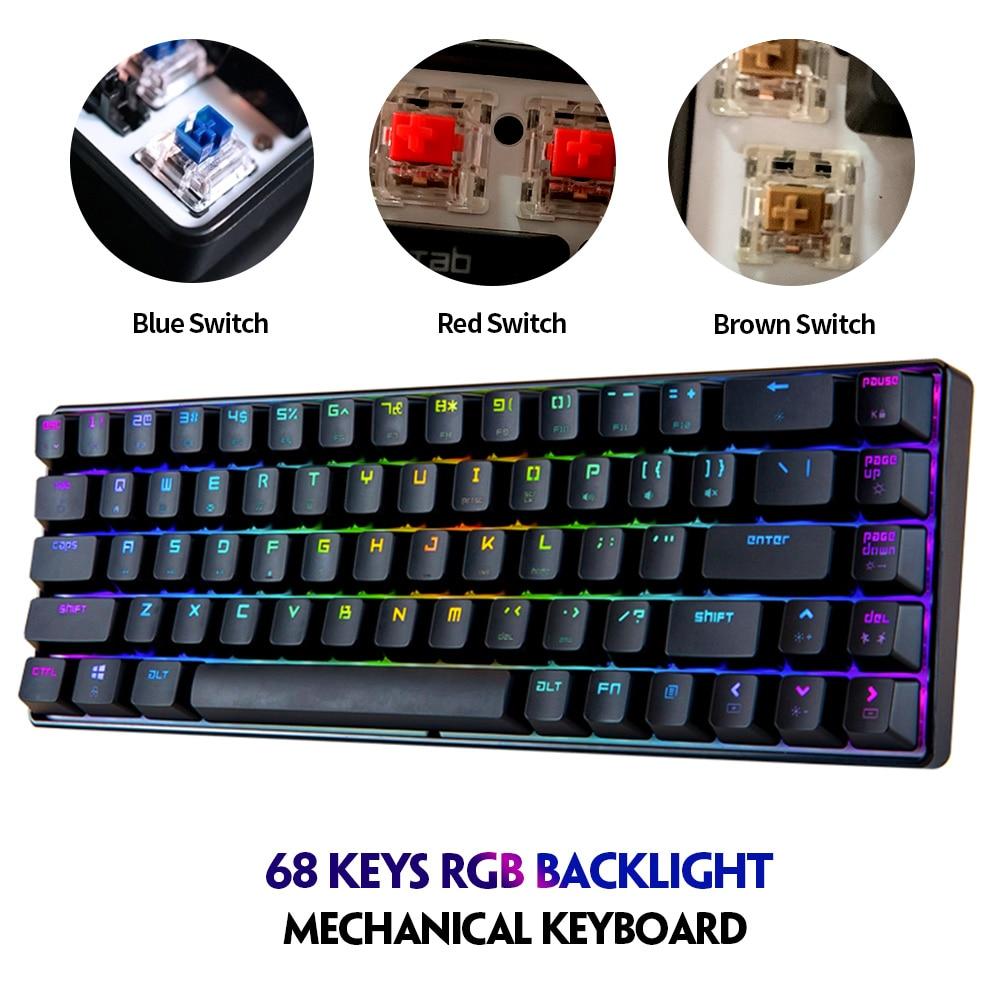 Permalink to Magic Refiner MK14 RGB 68 Keys Gaming Mechanical Keyboard Blue Red Brown Switch Keyboard Anti-ghosting for PC Laptop Office Work
