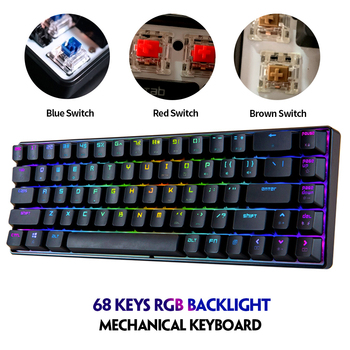 Magic Refiner MK14 RGB 68 Keys Gaming Mechanical Keyboard Blue Red Brown Switch Keyboard Anti-ghosting for PC Laptop Office Work metoo 87 104 keys edition mechanical keyboard blue black red switch gaming keyboards for laptop pc desktop keyboard sticker gift