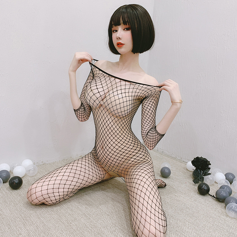 Fishnet Lingerie Solid Womens Catsuit Transparent Open Crotch Sex Clothes See Through Body Stockings Mesh Hot Erotic Bodysuits