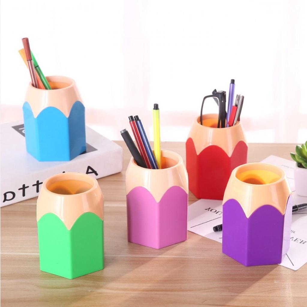 Makeup Brush Vase Pencil Pot Pen Holder School Stationery Storage Desk Organizer Tidy Container Office Supplies