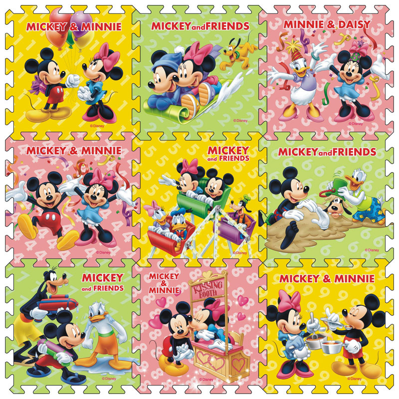 9pcs/pack  Mickey Minnie Mat 30x30cm Per Piece  Baby Children Play Floor Mat Frozen Mickey Foam Mat  Game Mat   Crawling Mat