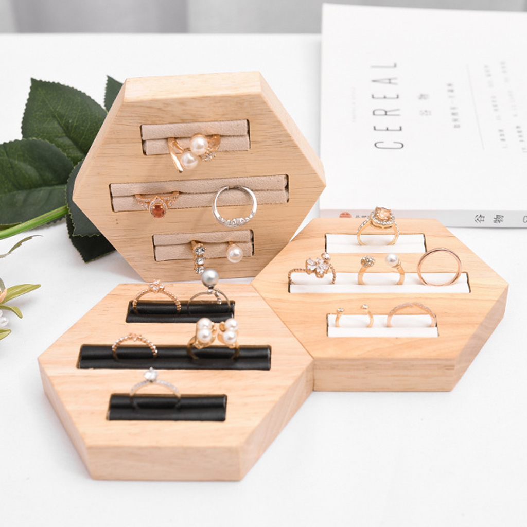 3-Slot Ring Holder Jewelry Insert Display Organizer Wooden Tray Hexagon Wood