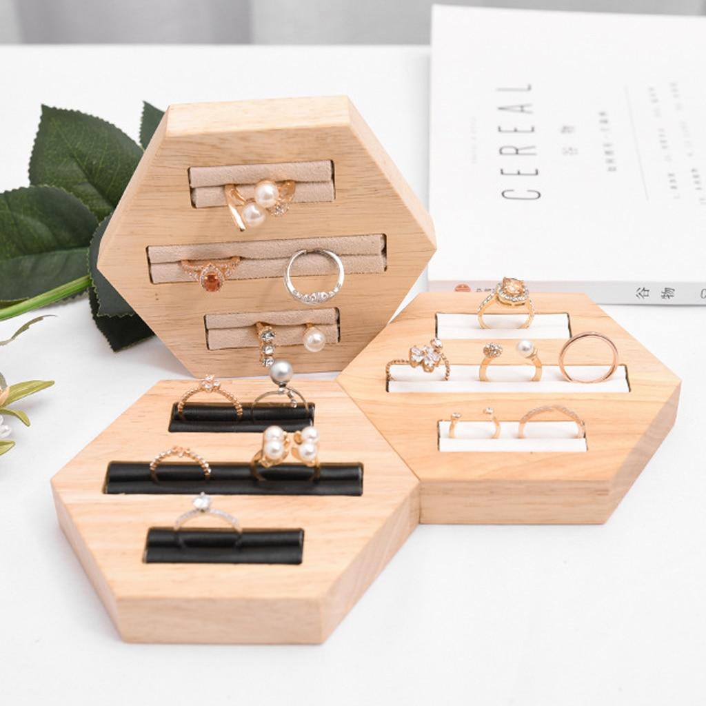 3-Slot Ring Holder Jewelry Insert Display Organizer Wooden Tray Hexagon Wood