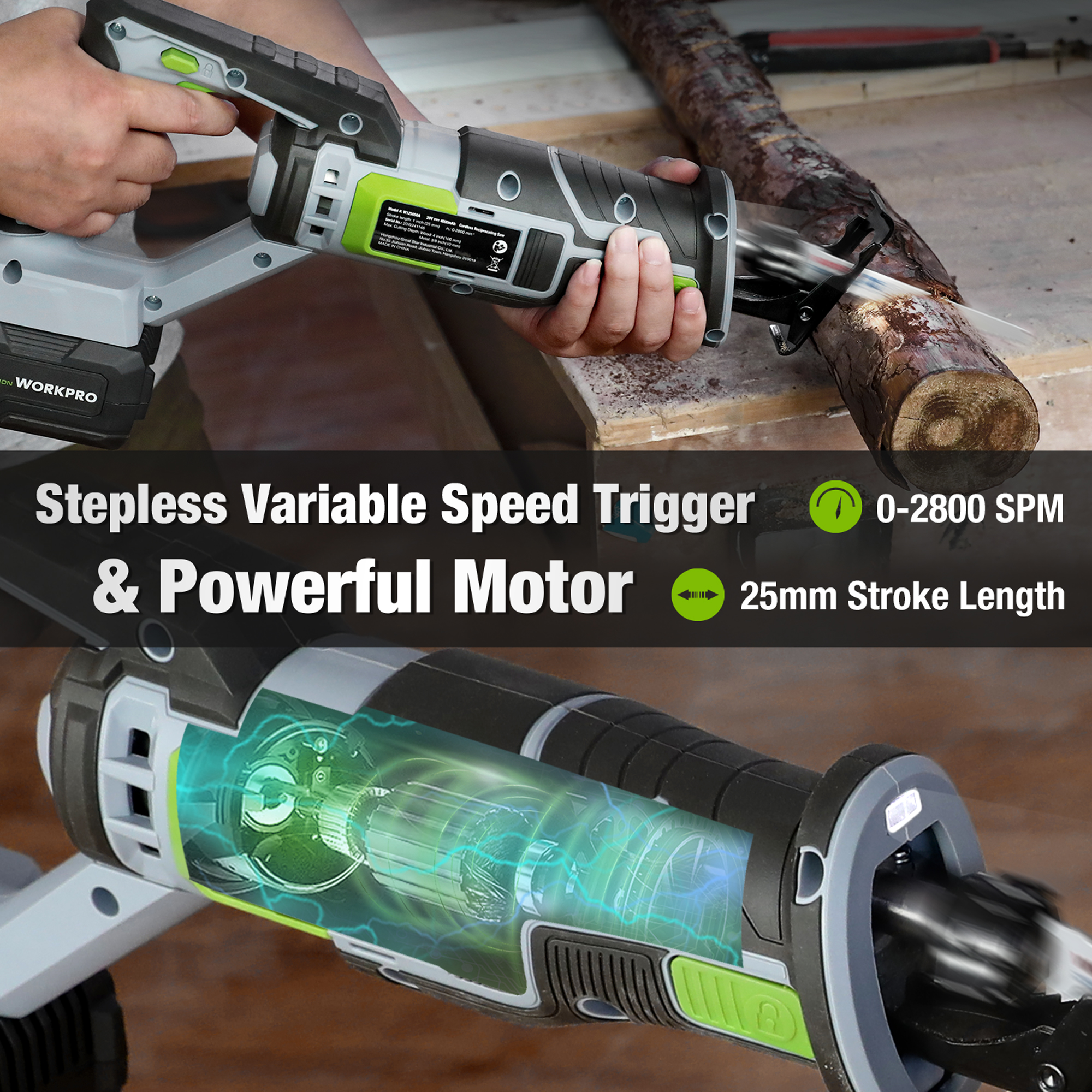 WORKPRO 20V Cordless Reciprocating Saw Stepless Cariable Speed Trigger