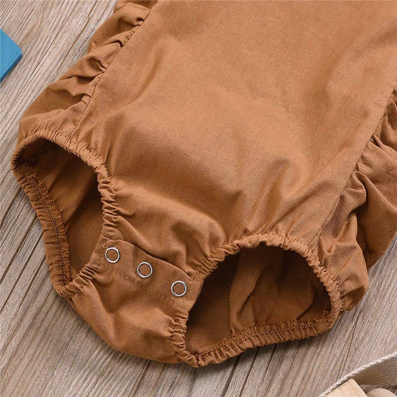Caaual pamuk yenidoğan tulum erkek bebek giysileri kolsuz Romper kıyafet katı 3 renk yaz çocuklar için bez