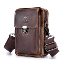 100% Crazy Horse Leather Male Waist Pack Phone Pouch Bags Bag Men's Small Shoulder Belt Back