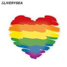 SLIVERYSEA 10*11CM Creative Graffiti Rainbow Lesbian Gay Pride Love Heart PVC Decal Car Sticker