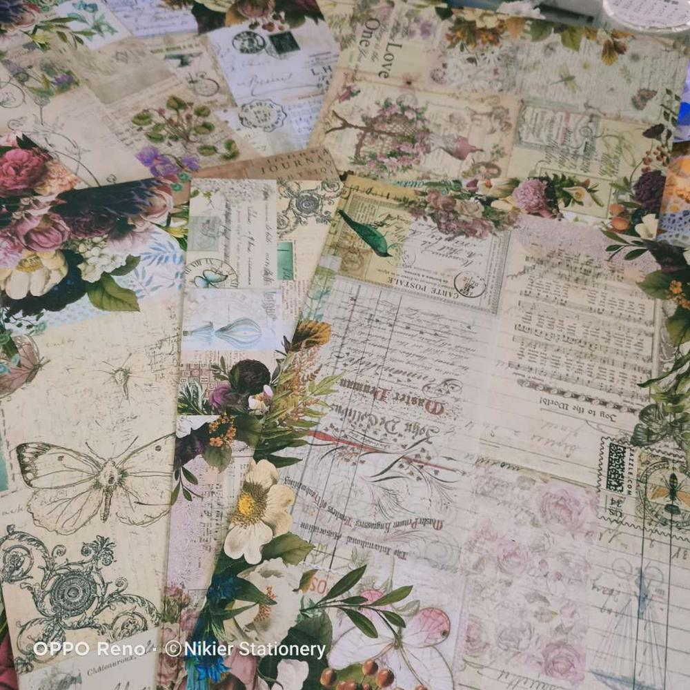 Купить с кэшбэком 16PCS Retro English Ticket Background Illustration Material Vintage Flower Stamp Woman Deco DIY Scrapbooking Planner Diary Album