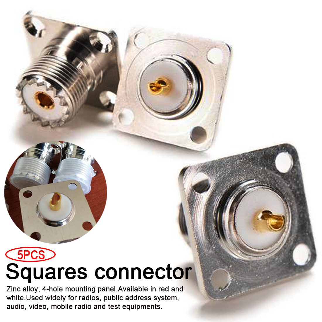 5pcs UHF squares socket Female coaxial connector Panel Chassis Mount Solder Cup RF Connector|Connectors| |  - title=