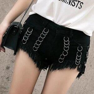 Женские джинсовые шорты, повседневные Черные шорты со средней талией, готические шорты с кисточками, сексуальные короткие джинсы, лето 2020
