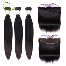 Sterly Straight Hair Bundles With Frontal Remy Human Hair Bundles With Closure Brazilian Hair Weave Bundles With Closure(China)