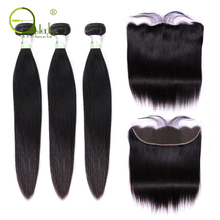 Sterly Hair-Bundles Closure Frontal Brazilian-Hair Straight with Remy