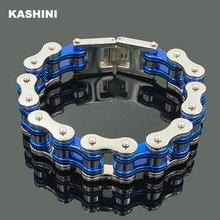 Pulseira masculina de corrente de bicicleta, bracelete azul punk, pulseira de aço inoxidável 316l, corrente de bicicleta