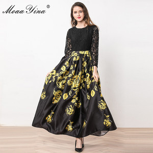Image 5 - MoaaYina Fashion Designer Dress Summer Women Long sleeve Lace Patchwork Floral Print Ball Gown Elegant Dress