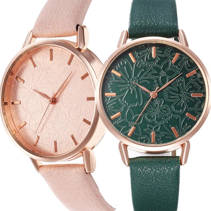 Women Wrist Watch Fashion Ladies Wristwatches 3D Embossed Flowers Large Dial Leather Geneva Female Quartz Watches Grils