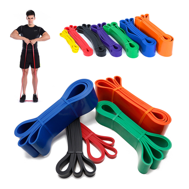 Gym Unisex Fitness 208cm Rubber Resistance Bands Yoga Pilates Elastic Loop Crossfit Expander Strength Pull Up Exercise Equipment