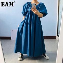 [EAM] femmes bleu bref longue grande taille Denim robe nouveau col rond demi manches ample coupe mode marée printemps été 2020 1U749