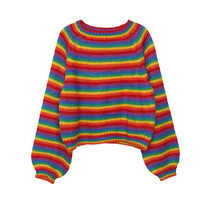Korean Rainbow Knitted Sweater Women Runway Jumpers Loose Women's Clothes Autumn 2019 Plus Size Casual female Top Pullovers
