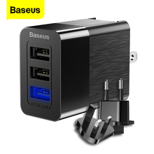 Baseus 3 Port USB Charger 2.4A Fast Charge Travel Wall Charger Adapter 3 in 1 EU US UK Mobile Phone Charger For iPhone X Xiaomi