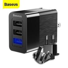 """Baseus 3 יציאת USB מטען 2.4A מהיר תשלום נסיעות מטען קיר מתאם 3 ב 1 איחוד אירופי ארה""""ב בריטניה נייד טלפון מטען עבור iPhone X Xiaomi"""