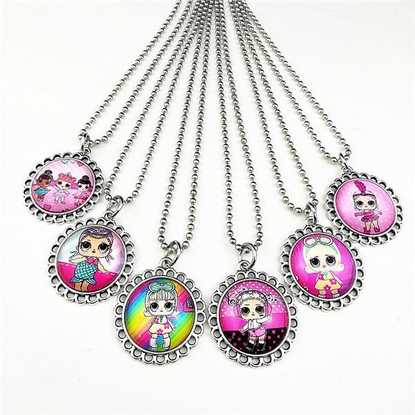 24 шт новые стили мультфильм кукла красочные бусы стеклянные браслеты ожерелье брелок кольцо серьги ювелирные изделия серии для девочек - Окраска металла: Голубой с покрытием из белого цинка