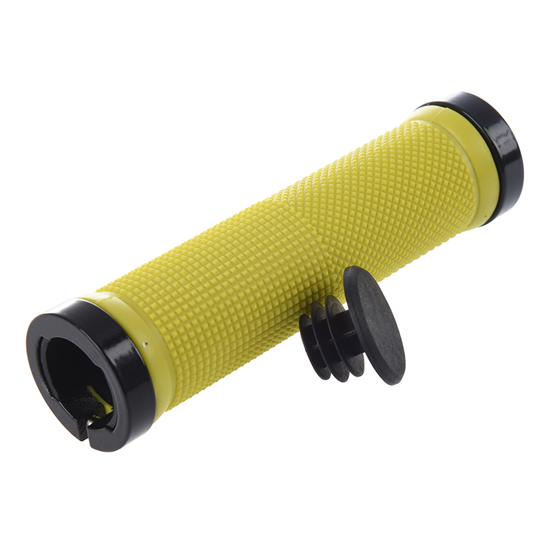 Double Road Mountain MTB BMx Bike Cycle Bicycle Lock On Locking Handlebar Grips - Yellow