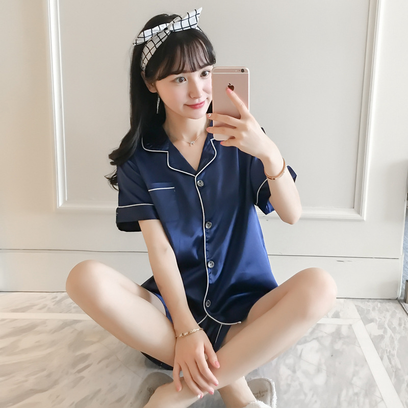 Summer Faux Silk Pajamas Set Short Sleeves Shorts Nightwear M-5XL Large Size 2020 New Sexy Pijama Mujer Pure Color Sleepwear