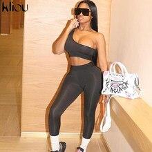 Kliou – Survêtement de sport leggings et brassière pour femme, fitness, épaule dénudée, 2 pièces, matière élastique, vêtements actifs, mode décontractée