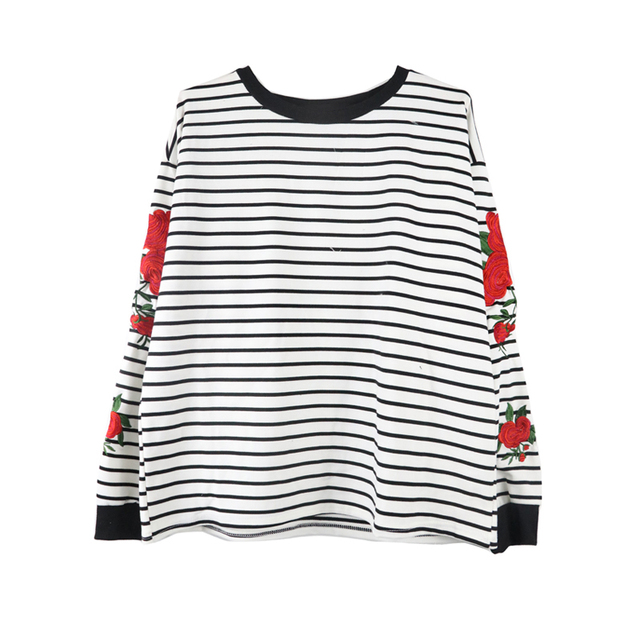 HziriP Autumn Harajuku Hoodies Roses Embroidery Lantern Sleeve Loose Striped Women Sweatshirt Girl Vintage Elegant Casual Tops 5