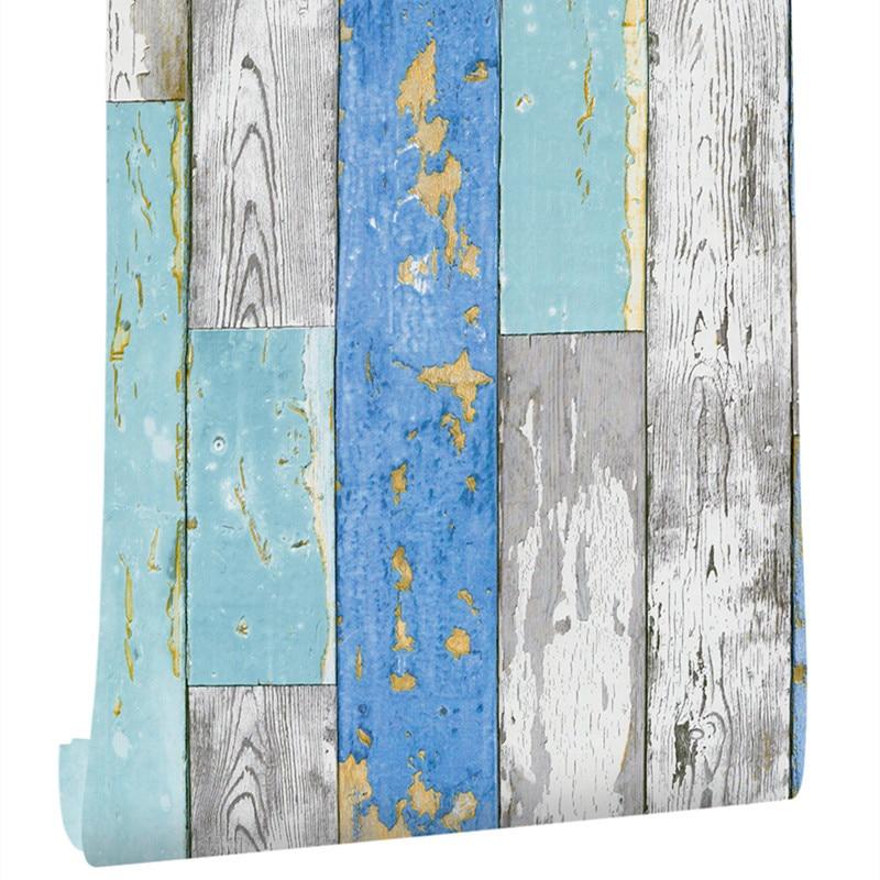"Blue Wood Vinyl Self Adhesive WallPaper For Living Room Bedroom Furniture Home Walls Decor 17.7""x19.ft DIY contact paper sticker"