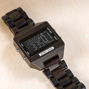 Image 4 - Часы наручные BOBO BIRD мужские электронные, многофункциональные светодиодные брендовые цветные цифровые с деревянным ремешком, с бамбуковой коробкой, с отображением даты