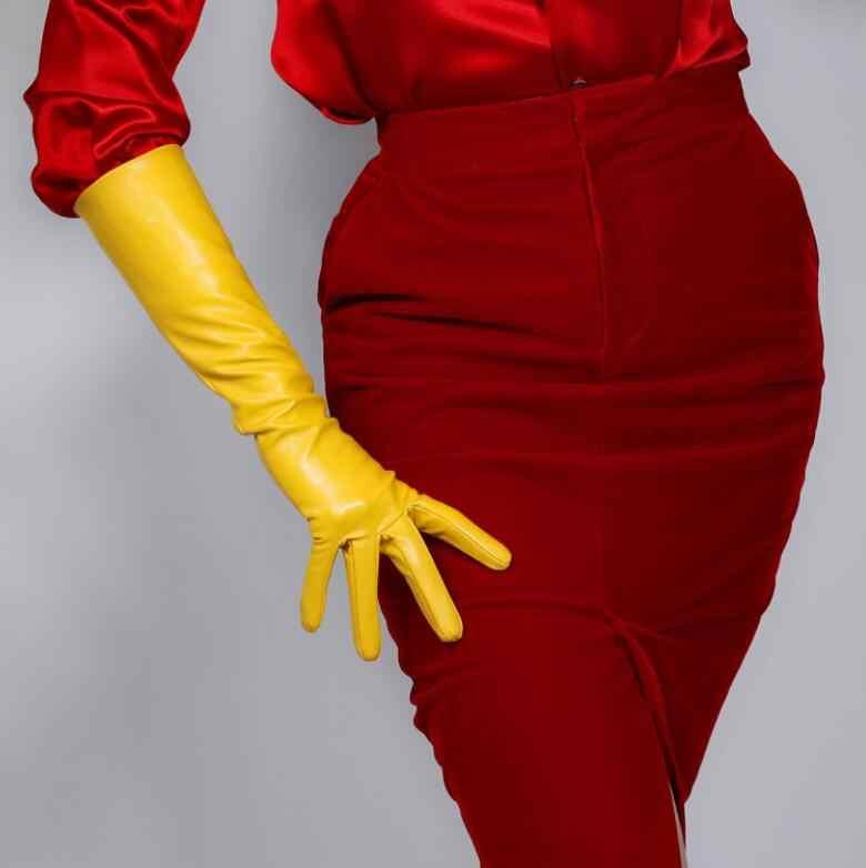 여자의 패션 옐로우 컬러 섹시 슬림 가짜 pu 가죽 장갑 레이디의 클럽 성능 공식 파티 가죽 긴 장갑 60cm R2087