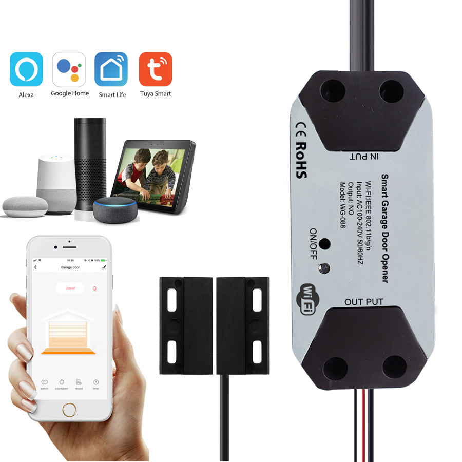 Yobang Security Tuya WiFi Smart <font><b>Garage</b></font> <font><b>Door</b></font> <font><b>Opener</b></font> Controller with Alexa Google APP <font><b>Remote</b></font> Control <font><b>Garage</b></font> Open Close Monitor image