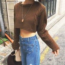 Новинка укороченный топ свободные женские свитера пуловеры уличная