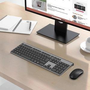 Image 5 - Clavier et souris sans fil, disposition espagnole, batterie rechargeable, connexion USB stable, adapté pour ordinateur portable, ordinateur, gris